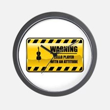 Warning Cello Player Wall Clock
