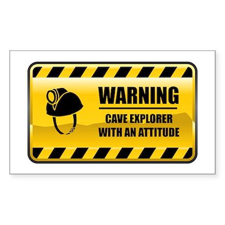 Warning Cave Explorer Rectangle Sticker