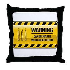Warning Candlemaker Throw Pillow