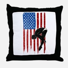 USA Flag Team Diving Throw Pillow