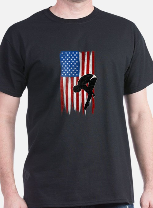 USA Flag Team Diving T-Shirt