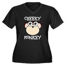 CHEEKY MONKEY Women's Plus Size V-Neck Dark T-Shir