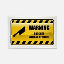 Warning Butcher Rectangle Magnet