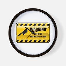 Warning Butcher Wall Clock