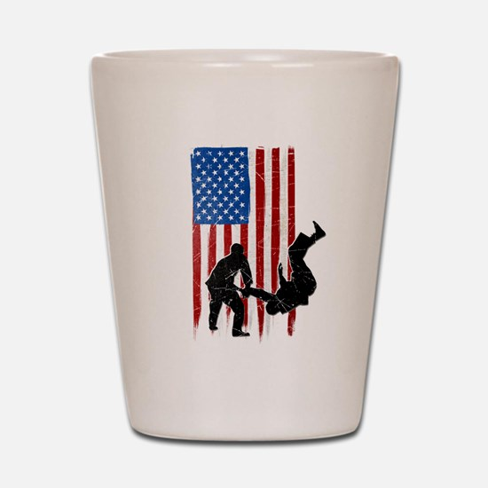 USA Flag Team Judo Shot Glass