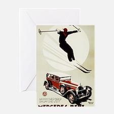 Skier Jumping over Mercedes - Vintage Promo Poster