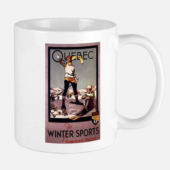 Quebec, Canada - Winter Sports Travel Poster Mugs