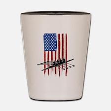 USA Flag Team Rowing Shot Glass