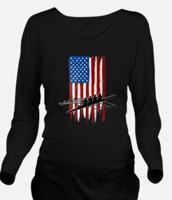 USA Flag Team Rowing Long Sleeve Maternity T-Shirt
