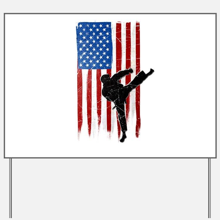 USA Flag Team Taekwondo Yard Sign