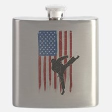 USA Flag Team Taekwondo Flask