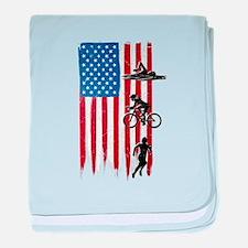 USA Flag Team Triathlon Infant Blanket