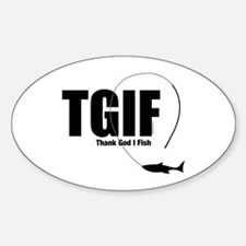 TGIF Fishing Oval Decal