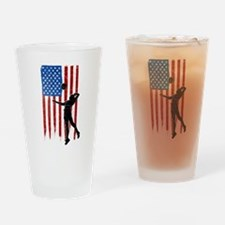 USA Flag Team Volleyball Drinking Glass