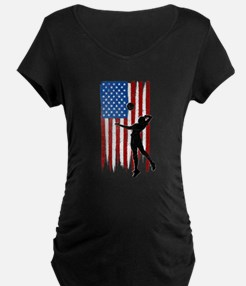 USA Flag Team Volleyball Dark Maternity T-Shirt