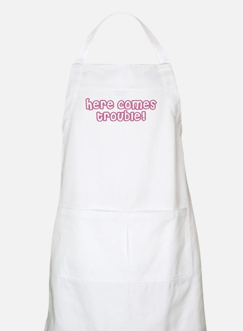 Here Comes Trouble Pink BBQ Apron