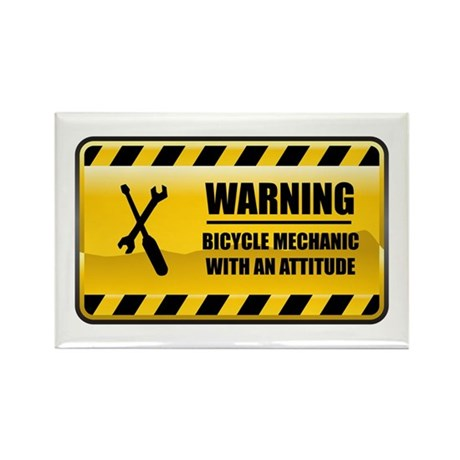 Warning Bicycle Mechanic Rectangle Magnet (100 pac