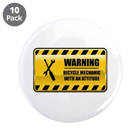 """Warning Bicycle Mechanic 3.5"""" Button (10 pack"""