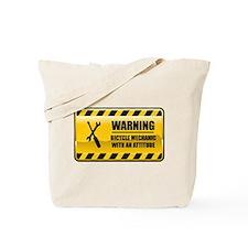 Warning Bicycle Mechanic Tote Bag