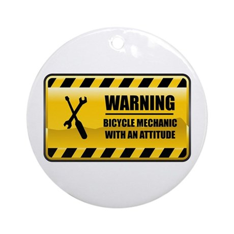 Warning Bicycle Mechanic Ornament (Round)