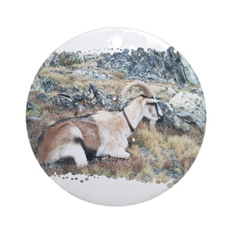 Brown pack-goat, Wyoming Ornament (Round)