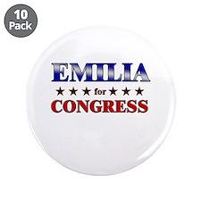 "EMILIA for congress 3.5"" Button (10 pack)"
