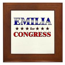 EMILIA for congress Framed Tile