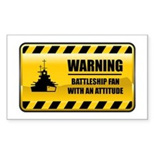 Warning Battleship Fan Rectangle Decal