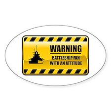 Warning Battleship Fan Oval Decal