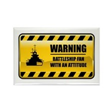 Warning Battleship Fan Rectangle Magnet