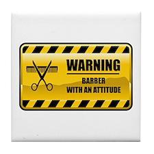 Warning Barber Tile Coaster