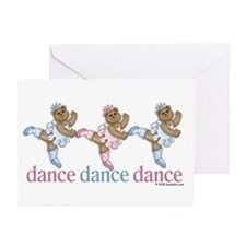 3 Teddy Bear Dancers Greeting Cards (Pk of 10)