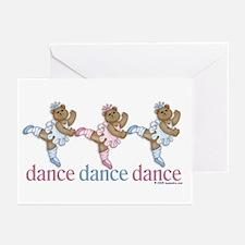 3 Teddy Bear Dancers Greeting Cards (Pk of 10)