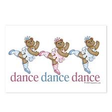 3 Teddy Bear Dancers Postcards (Package of 8)