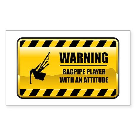 Warning Bagpipe Player Rectangle Sticker
