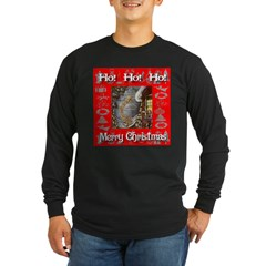 Ho! Ho! Ho! Merry Christmas Long Sleeve Dark T-Shi