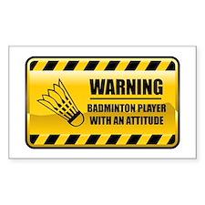 Warning Badminton Player Rectangle Decal