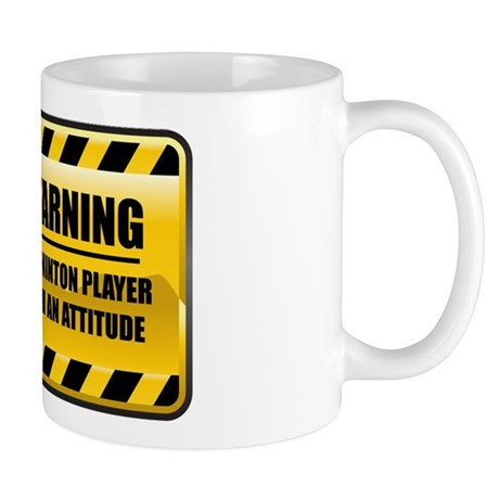 Warning Badminton Player Mug