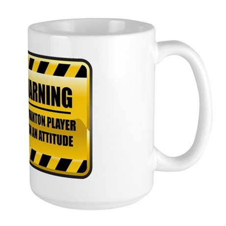 Warning Badminton Player Large Mug