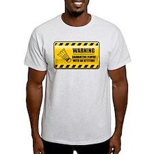 Warning Badminton Player T-Shirt