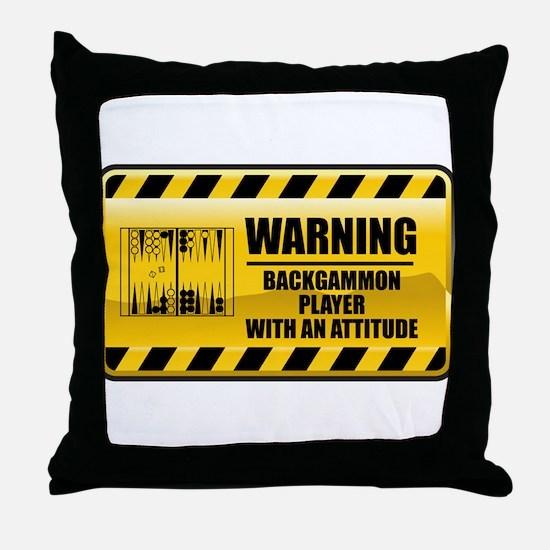 Warning Backgammon Player Throw Pillow