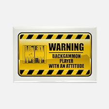 Warning Backgammon Player Rectangle Magnet