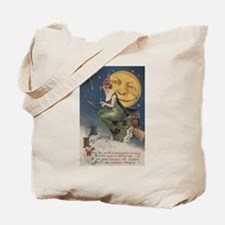 Halloween Greeting - Witch in Flight Tote Bag