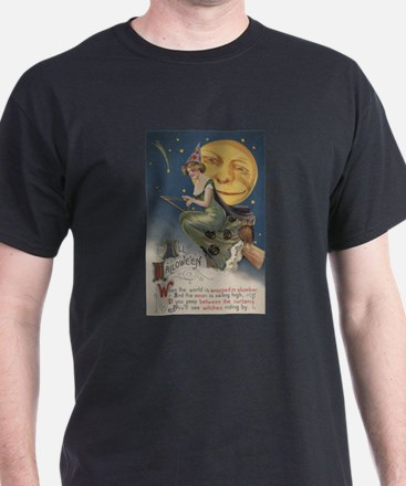 Halloween Greeting - Witch in Flight T-Shirt