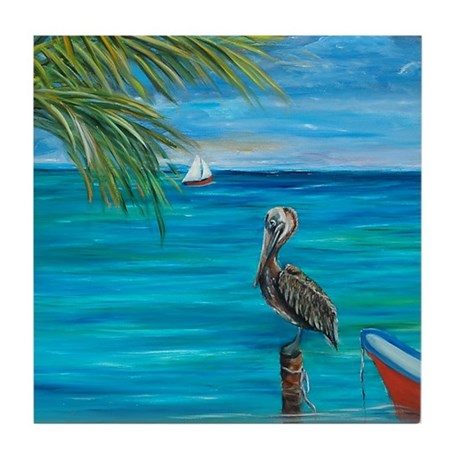 Beach View with pelican Tile Coaster