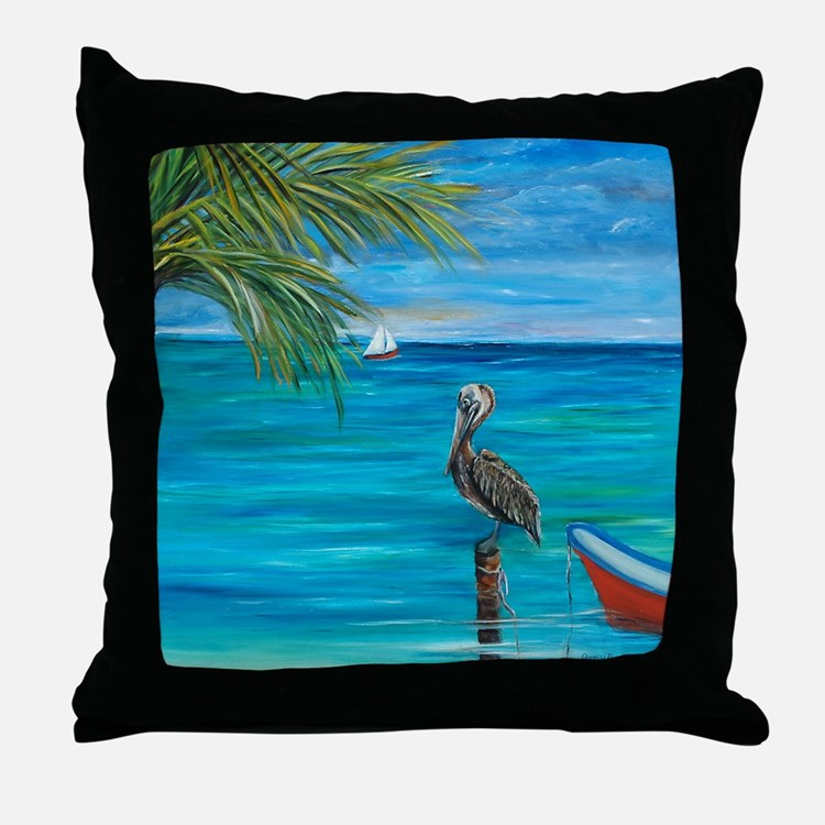 Beach View with pelican Throw Pillow