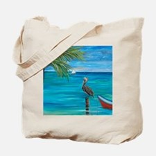 Beach View with pelican Tote Bag
