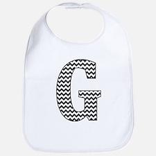 Black and White Chevron Letter G Monogram Bib
