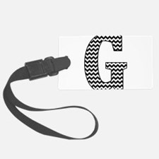 Black and White Chevron Letter G Luggage Tag