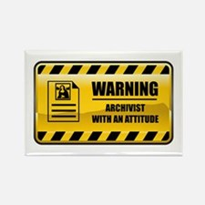Warning Archivist Rectangle Magnet